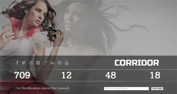 Corridor - Responsive, Clean, Coming Soon Template